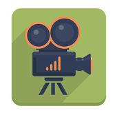 Video camera flat icon. Vector illustration — Stock Vector