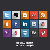 Social media icons. Vector illustration — ストックベクタ