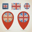 Red Map Markers. British flag theme — Stock Vector