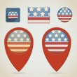 Red Map Markers. 4 July Theme — Stock Vector #32863151