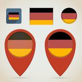 Mapa czerwone znaczniki. niemiecka flaga tematu — Wektor stockowy