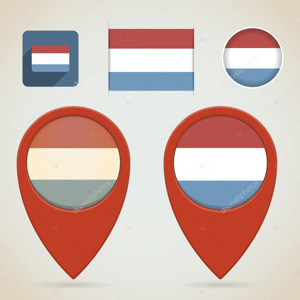 红色地图标记.荷兰标志主题