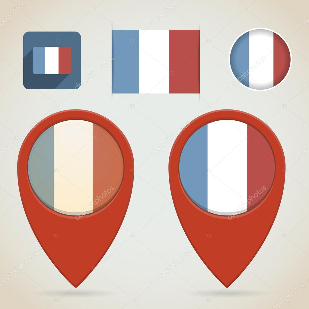 红色地图标记.法国标志主题 — 图库矢量图像08