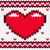 Knitted pattern of Valentines day theme — Stock Vector