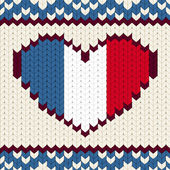 Knitted pattern France flag — Stockvector