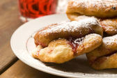 Sweet doughnuts with rose marmelade — Photo