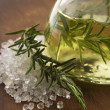Stock Photo: Essential Oil with rosemary and sesalt