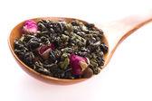Green tea whit rose — Stock Photo