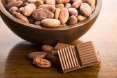 Fèves de cacao chocolat au lait — Photo