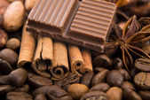 Chocolate with coffee beans, spices and cacao — Foto de Stock