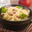 Pasta Carbonara with bacon and cheese — Stock Photo