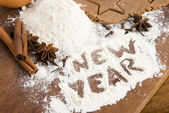 The inscription on the flour - New Year — Stock Photo