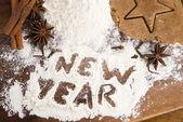 The inscription on the flour - New Year — Stock Photo