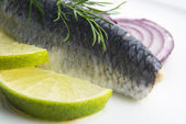 Fillet herring with onion and lemon — Zdjęcie stockowe