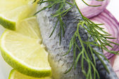 Fillet herring with onion and lemon — Stock fotografie