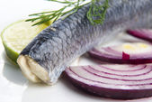 Fillet herring with onion and lemon — ストック写真
