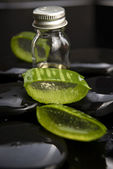 Sliced aloe leaves with oil on the stone — Foto de Stock