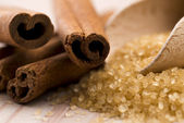 Cinnamon with brown sugar — Stock Photo