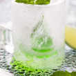 Glass made of ice with vodka, lemon and mint — Stock Photo #48953707