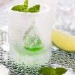 Glass made of ice with vodka, lemon and mint — Stock Photo #48958335