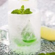Glass made of ice with vodka, lemon and mint — Stock Photo #49837685