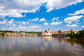 Charles Bridge Through Vltava River — Stock Photo