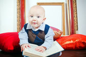 Funny Little Baby With Book — Stock Photo