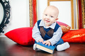 Laughing Little Baby With Book — Stock Photo