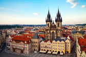 Tyn Church in Prague From Above — Stock Photo