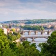 Stock Photo: Prague Bridges Across VltavRiver