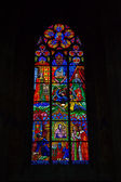 Stained glass art in Votivkirche — Stock Photo