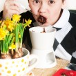 Boy and strawberry chocolate fondue — Stock Photo