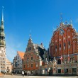 The architectural ensemble of the House of Blackheads and St.Peter Cathedral. Riga, Latvia,Europe — Stock Photo #24527787