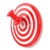 Red pin with target — Stockfoto