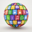 Colorful social media sphere — Stockfoto
