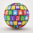 Colorful social media sphere - Stock Photo