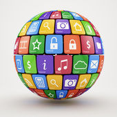 Colorful social media sphere — Stock Photo