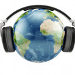 Earth planet with earphones — Stock Photo #20979289