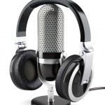 słuchawki z mikrofonem — Zdjęcie stockowe