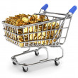 Shopping cart filled with gold coins — Stock Photo
