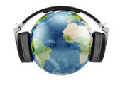 Earth planet with earphones — Stock Photo