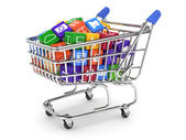 Shopping cart with media boxes — Stock Photo