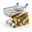 Shopping cart with credit card — Stock Photo