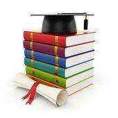 Books with graduation cap — Stock Photo