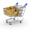 Shopping basket with golden bars — Stock Photo