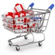 Shopping cart with gift boxes — Stock fotografie