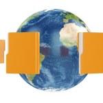 Earth globe with flying folders around — Stock Photo