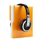 计算机文件夹与耳机 — 图库照片