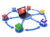 Laptop mit box-software — Stockfoto