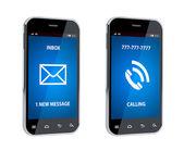 Téléphone mobile avec signe d'appel et message — Photo